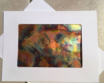 Gift for him her Unique Handmade greeting card Metal Art Copper Art abstract art One of a kind blank card burnished copper gift and card