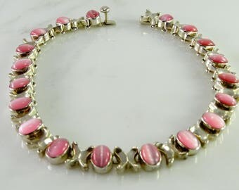 Old Mexico Pink Cat's Eye Sterling Necklace 17""