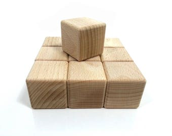 Blocks baby, plus 10 cubes of building block of wood to size, natural