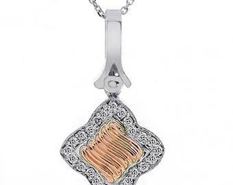 0.50 Carat Round Diamond Clover Pendant On Chain 14K Two Tone Gold