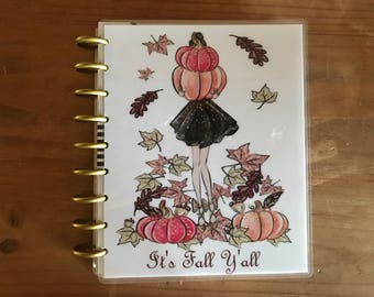 Its fall y'all mini and classic happy planner covers. Cute pumpkin theme to decorate your planner in a fun fall or autumn theme.