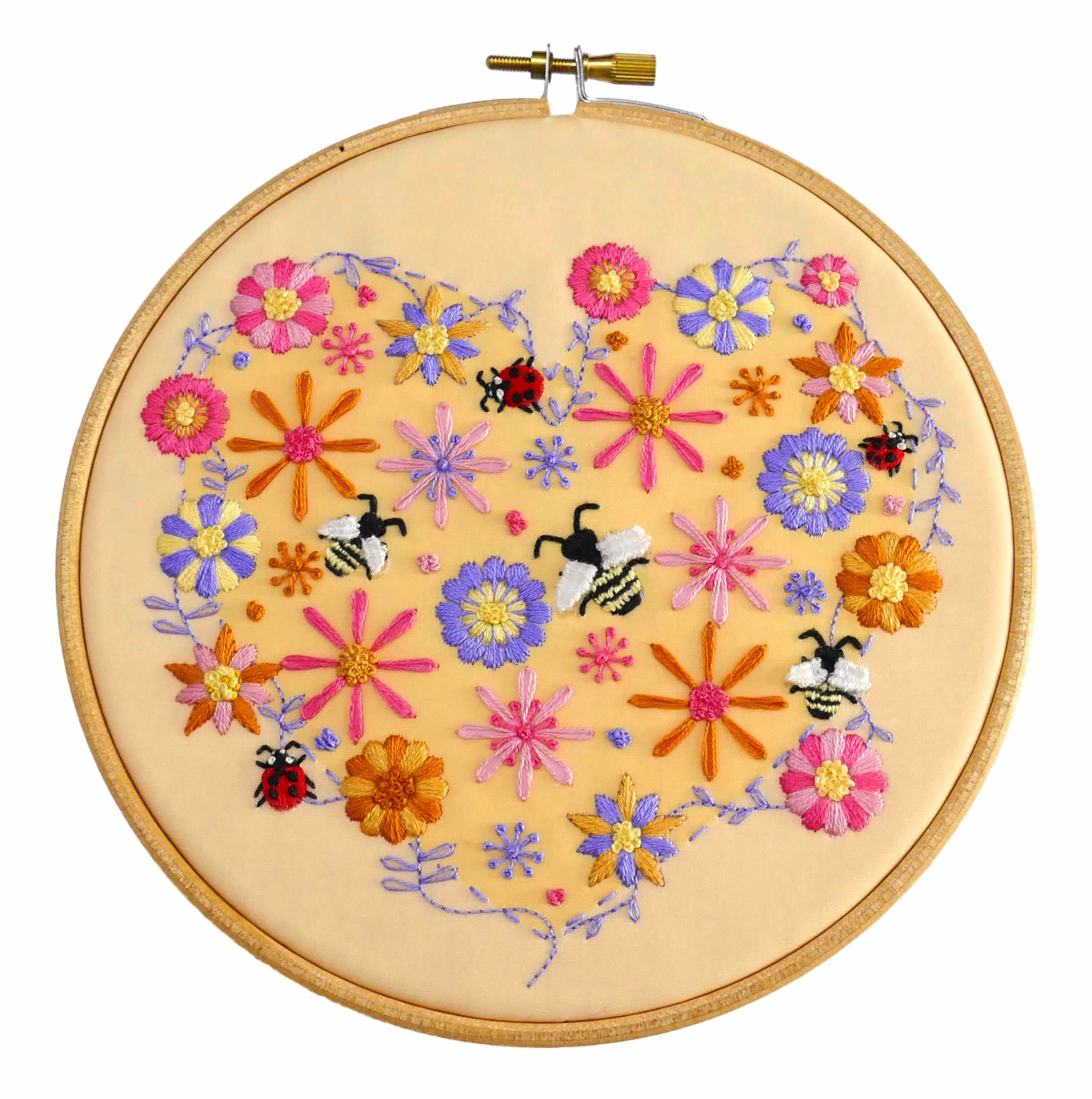 Diy embroidery pattern bees flowers designs