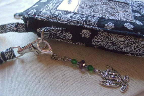 Green dragon Zipper pull - mystical creature - Chinese dragon charm - Celtic - Viking - good luck charm - Purse zipper pull - planner clip