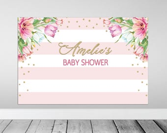 Baby Shower Backdrop, Floral Baby Shower Backdrop, Printable Backdrop, Floral Backdrop, Party Backdrop, Birthday backdrop, party decor