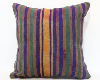 24x24 Multicolor Kilim Pillow Decorative Kilim Pillow 24x24 Striped Kilim Pillow Home Decor Throw Pillow Cushion Cover SP6060-1191