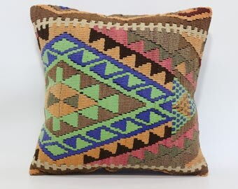 Geometric Kilim Pillow Boho Pillow 18x18 Handwoven Kilim Pillow Multicolor Kilim Pillow Ethnic Pillow Cushion Cover  SP4545