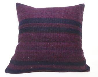 24x24 Violet Color Kilim Pillow Striped Kilim Pillow 24x24 Decorative Kilim Pillow Home Decor Throw Pillow Cushion Cover SP6060-1402
