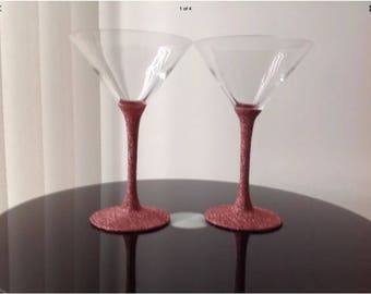 one Pair of Rose Gold Glitter Cocktail Glasses