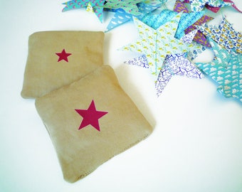 white linen with blue pink star cushion-shaped Lavender sachet