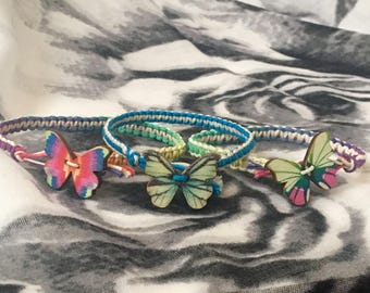 Butterfly Hemp Bracelet - Butterfly Bracelet - Colorful Hemp Bracelet - Hemp Jewelry - Customizable