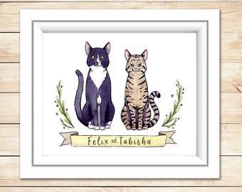 Pet Lover Gift Custom Portrait Watercolor Illustration Valentines Gift Custom Portrait Gift for Her Gift for Him Pet Memorial Puppy Love