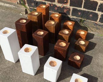 Handmade Chunky Rustic Wooden Decorational Tea Light Holder Sets Oak Finishes Candles Inc