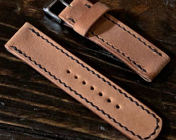 22mm Reverse Shell Cordovan Watch Strap Hand Stitched Made to Order and Customizable