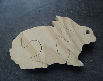 Raw wooden animal puzzle rabbit: decorative and educational