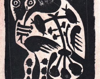 PABLO PICASSO 1956 Lithograph +COA. Le Grand Hibou, after 1948 Print The Great Owl, Rare Picasso Art. Unique Gift Idea of Exclusive Rare Art