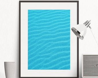 Abstract Water Print, Beach Decor, Ripple Wave, Blue Wall Art, Nature, Coastal Photo, Color Photography, Printable Poster, Digital Download