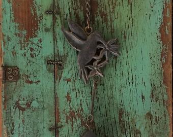 Vintage Metal Hummingbird Wind Chime