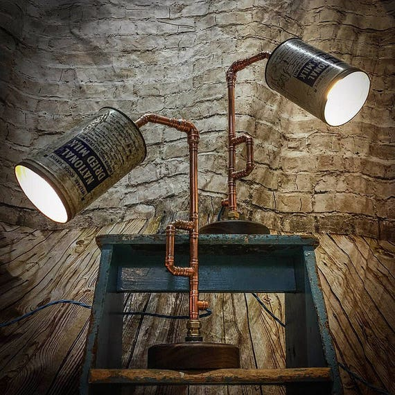 Vintage milk tin and copper lamps