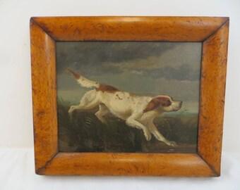 Antique Sporting Dog Oil Painting Welsh Springer Spaniel Vintage Burl Frame
