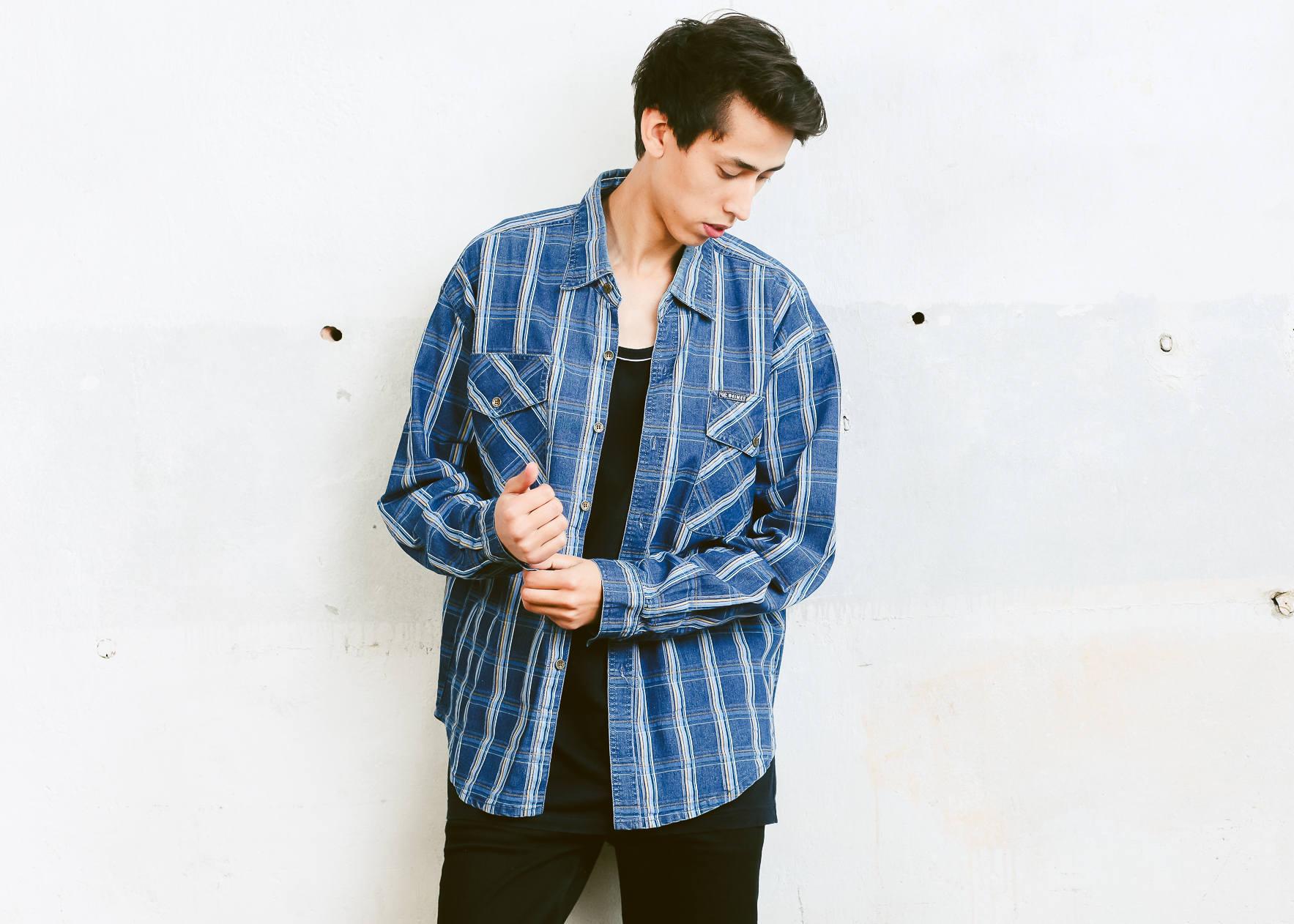 Men 90s Plaid Denim Shirt Vintage Blue Button Down Retro Mens Wear Everyday Clothing Size Large L