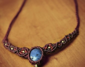 Macrame necklace plum and cherry color with Sodalite and brass beads