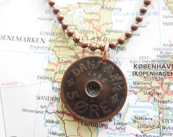 Denmark 1928 coin necklace - made of original coins from Danmark - birth year - ore