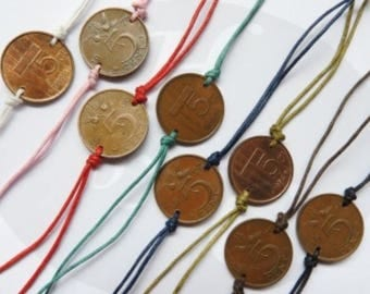 Netherlands colored penny coin bracelet 1948- 1950 - 1951 - 1954 - 1955 - 1956 - 1957 - 1958 - 1959