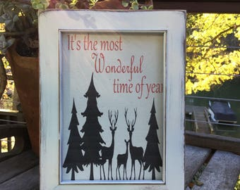 It's the most wonderful time of year,Framed Canvas Print,Christmas Decor,Farmhouse Christmas,Holiday Mantle art,shabby chic christmas decor