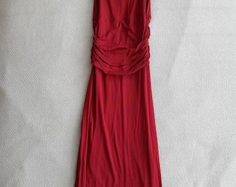 Reddish Maroon Ruched Waist Dress