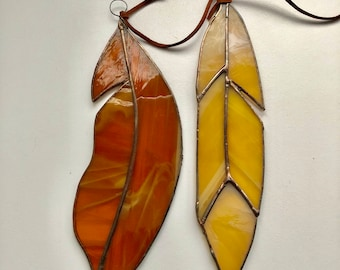 Feather / Stain Glass Feather / Window Hanging Feathr / Suncatcher Feathr / Stained Glass Home Decor / Stained Glass Art
