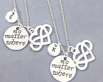 Silver Heart Necklace - Set of Two, Best Friend Necklaces for 2, Best Friend Charms, Friendship Jewelry, Personalize, Custom, Initial, Heart