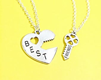 Best Friend Necklaces - set of 2, bff necklace for 2, matching friend necklace, silver best friend jewelry, two friendship necklaces, gift
