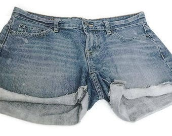 Vintage Denim Shorts Distressed and Wash Shorts Women's Blue Jean Shorts By J.Crew