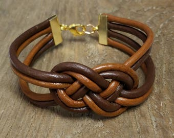 Multi-Strand Leather Infinity Knot Bracelet/Two Tone/Genuine Leather Knot Bracelet/Gift for Her/Gift for Women/Gift under 15/Boho Bracelet