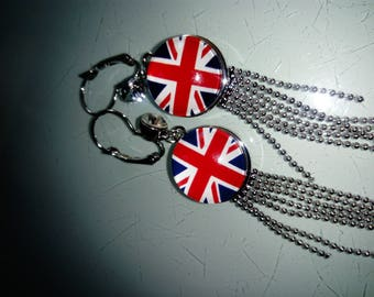earring cabochon United Kingdom flag pattern