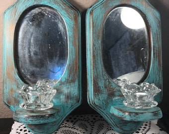 Shabby Chic Mirror Wall Hanging Distressed Candle Holders
