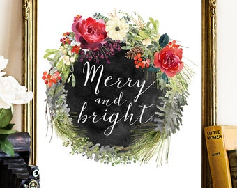 Be Merry And Bright, Merry And Bright, Christmas Printable Decor Wall Art,  Christmas