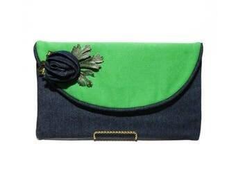 Denim and Green envelope