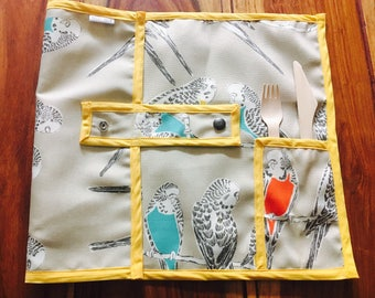 READY to ship / placemat for lunch / parakeet / parakeets / doily for the office / doily for lunch / doily for work