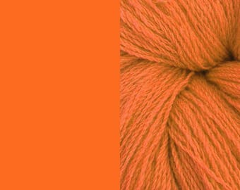 Wool Yarn, orange, DK, 3-ply worsted knitting yarn 8/3 100g/130m