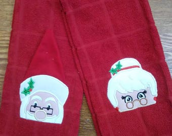 Santa and Mrs. Clause dish towel. Christmas decoration