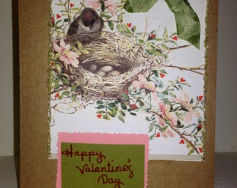 HANDMADE VALENTINE'S CARD,Mother,Caregiver,Caretaker,New Mother,Mother to be,Vintage,Old Fashioned,Bird lover,Nature Lover,Traditional,Sweet