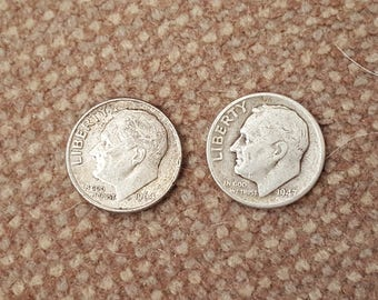 Two US Silver dimes 1964 and 1947