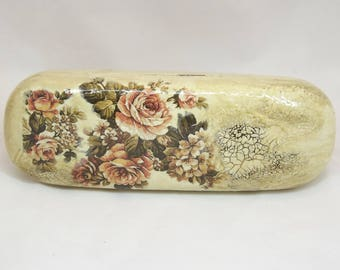 Roses Glasses Case, Vintage Glasses Case, Decoupage Glasses Holder, Eyeglasses Case, Hard Glasses Case, Spectacle Case, Storage Box