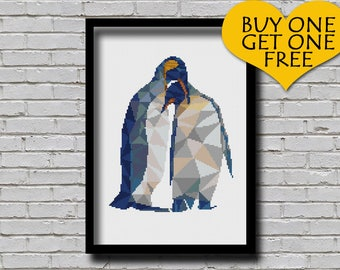 Cross Stitch Pattern Polygonal Penguin Couple Flightless Bird Geometric Animal Modern Decor Male Female Penguin Nature E Pattern