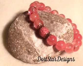Aromatherapy Essential Oil Diffuser Bracelet, Lava Rock Diffuser, Cherry Quartz Gemstones, Stackable Stretch Bracelet, Aromatherapy Jewelry