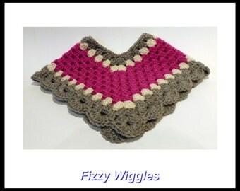 Baby Poncho/crocheted/3-6 months/handmade/magenta/grey/white/baby girl/girl clothes/baby photo prop/children/baby shower gift/gift/new mom/