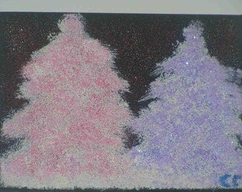 "Painting ""Snowy trees pink and purple"" on canvas (18x24cm) frame"