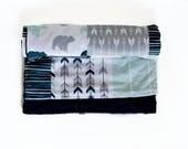 Blue Woodland Baby Blanket Minky -  Minky Baby - Baby Shower gifts boy - Baby Blankets Boy - New Baby Gift - Woodland Nursery