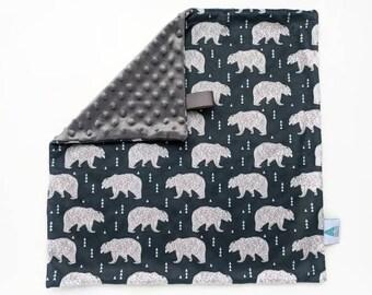 Mini blanket - Arctic Bears Lovey - Baby Lovey - Security Blanket - Minky Lovey - Snuggle Blanket - Baby Shower Gift - Woodland Nursery
